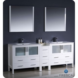 Fresca Torino 84-inch White Modern Double Sink Bathroom Vanity with Side Cabinet and Undermount Sinks
