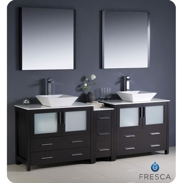 84 inch espresso modern double sink bathroom vanity with side cabinet