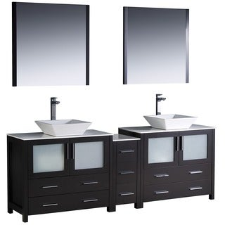 Fresca Torino 84-inch Espresso Modern Double Sink Bathroom Vanity with Side Cabinet and Vessel Sinks