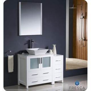 Fresca Torino 42-inch White Modern Bathroom Vanity with Side Cabinet and Vessel Sink