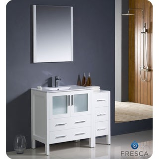 Fresca Torino 42-inch White Modern Bathroom Vanity with Side Cabinet and Undermount Sink