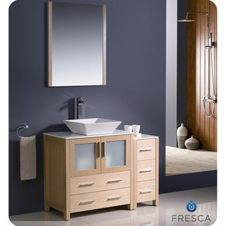 Fresca Torino 42-inch Light Oak Modern Bathroom Vanity with Side Cabinet and Vessel Sink