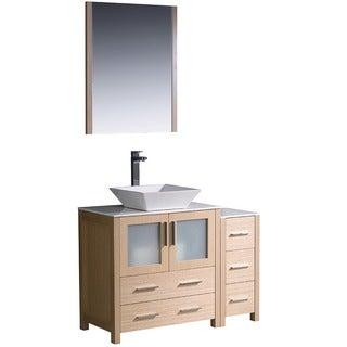 Fresca Torino 42-inch Light Oak Modern Bathroom Vanity with Side Cabinet and Vessel Sink