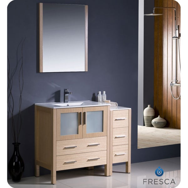 torino 42 inch light oak modern bathroom vanity with side cabinet
