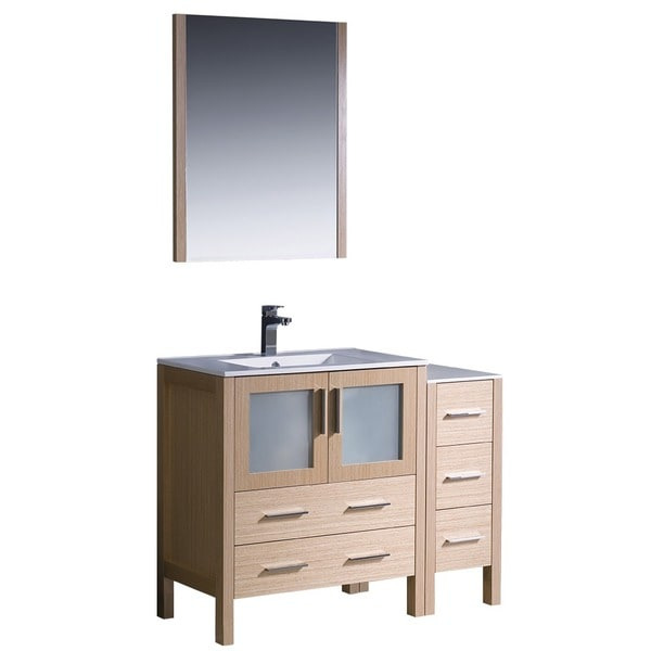 light oak modern bathroom vanity with side cabinet and undermount sink