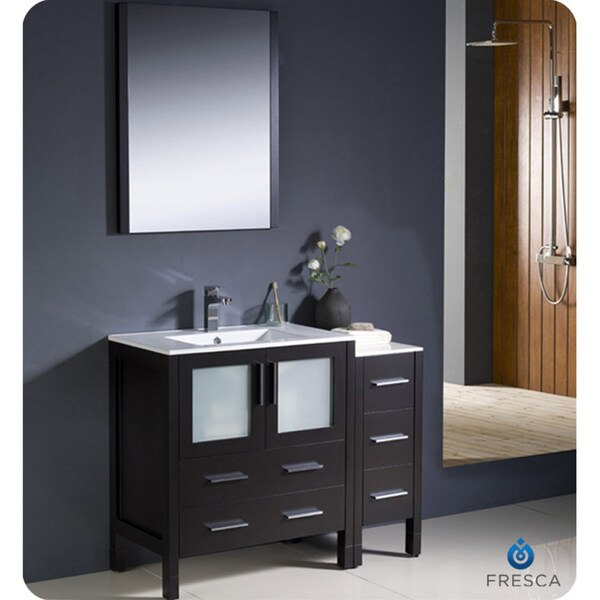 espresso modern bathroom vanity with side cabinet and undermount sink