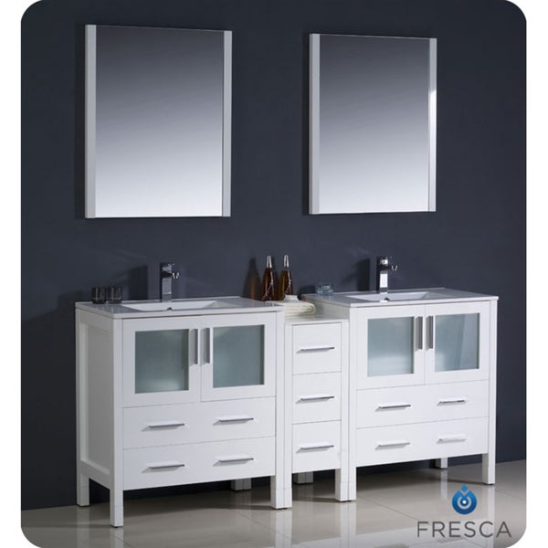 double sink bathroom vanity with side cabinet and undermount sinks