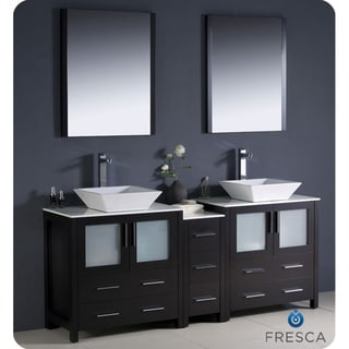 Fresca Torino 72-inch Espresso Modern Double Sink Bathroom Vanity with Side Cabinet and Vessel Sinks