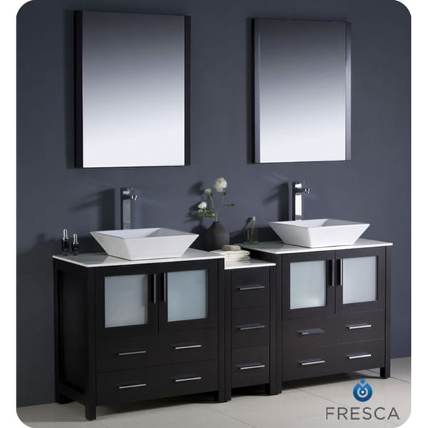 72 inch espresso modern double sink bathroom vanity with side cabinet
