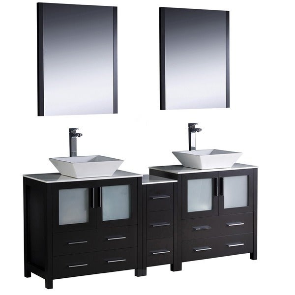 Fresca Torino Two Inch Espresso Modern Double Sink Bathroom Vanity With Side Cabinet And Vessel