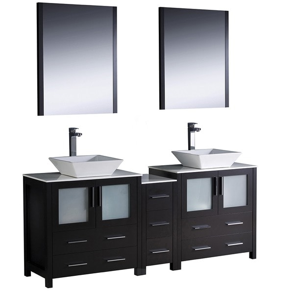 Elegant  Double Sink Modern Bathroom Vanity With Side Cabinet And Vessel Sinks