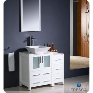 Fresca Torino 36-inch White Modern Bathroom Vanity with Side Cabinet and Vessel Sink