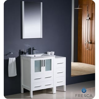 Fresca Torino 36-inch White Modern Bathroom Vanity with Side Cabinet and Undermount Sink