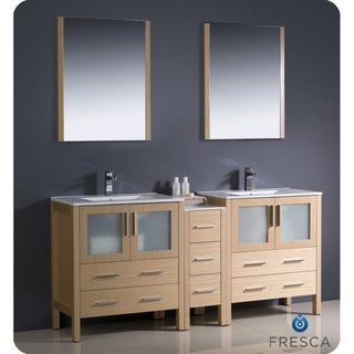 Fresca Light Oak Double-Sink Bathroom Vanity with Silvertone Hardware