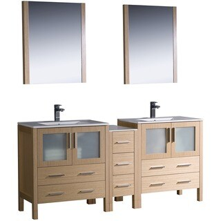 Fresca Light Oak Double-Sink Bathroom Vanity with Silvertone Hardware
