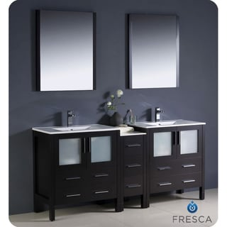 Fresca Torino 72-inch Espresso Modern Double Sink Bathroom Vanity with Side Cabinet and Undermount Sinks