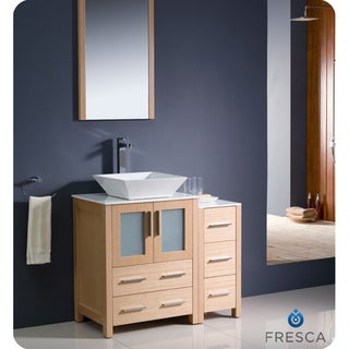 Fresca Torino 36-inch Light Oak Modern Bathroom Vanity with Side Cabinet and Vessel Sink