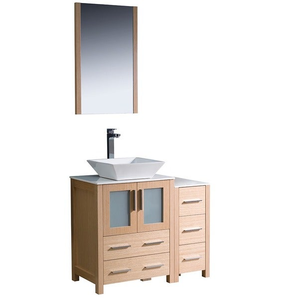 Fresca torino 36 inch white modern bathroom vanity with side cabinet
