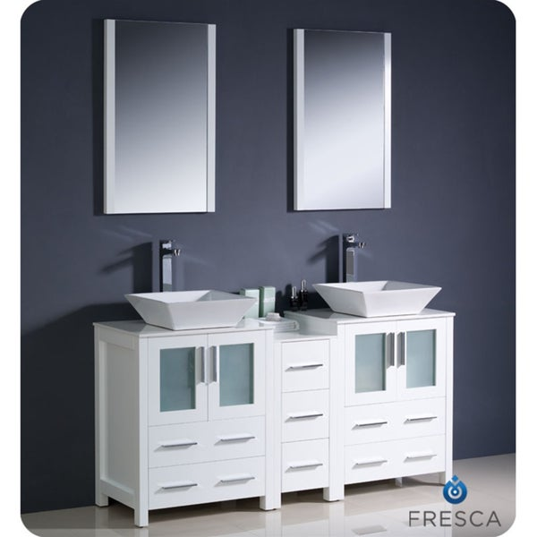 Creative  White 60 Inch Double Sink Bathroom Vanity Water Creation Vanities