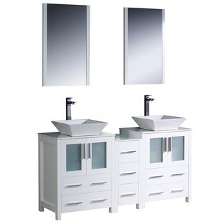 Fresca White 60-Inch Double-Sink Ceramic Bathroom Vanity