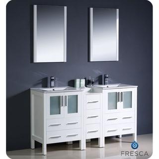 Fresca White 60-inch Double Sink Bathroom Vanity