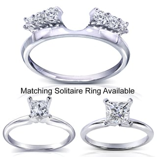 Annello 14k White Gold Round Cut Diamond Wrap or Princess Cut Solitaire Ring (H-I, I1-I2)