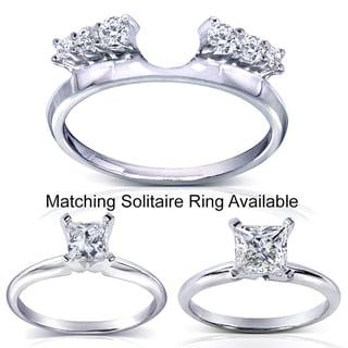 Annello 14k White Gold Round Cut Diamond Wrap or Princess Cut Solitaire Ring (H-I, I1-I2)