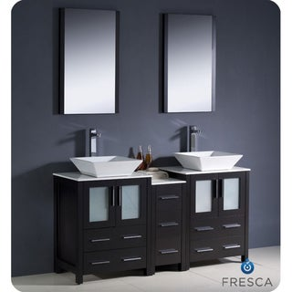 Modern Fresca Espresso Double-Sink Bathroom Vanity