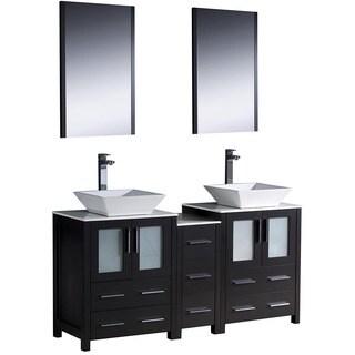 Modern Fresca Espresso Double-Sink Bathroom Vanity