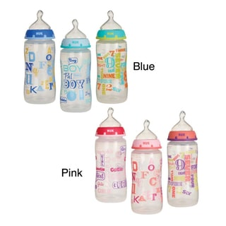 NUK Trendline BabyTalk Medium Flow 10-ounce Orthodontic Bottle (Pack of 3)