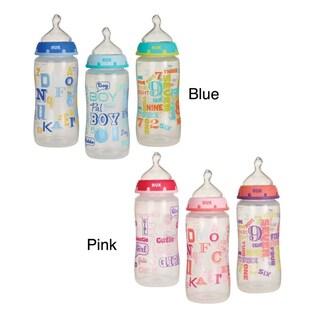 NUK Trendline BabyTalk Medium Flow 10-ounce Orthodontic Bottle (Pack of 3)