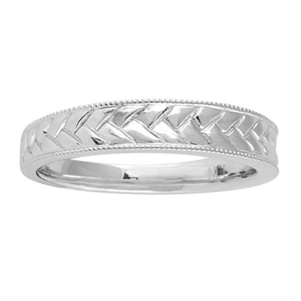 Sterling Silver Engraved Braided Design Wedding-style Band