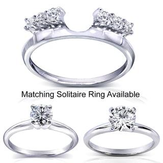 Annello 14k White Gold Round Cut Diamond Wrap or Round Cut Solitaire Ring (H-I, I1-I2) with Bonus Item