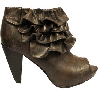 Fahrenheit Women's 'Luga-03' Brown Ruffle Booties