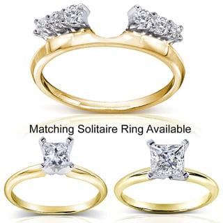 Annello 14k Two-tone Gold Round Cut Diamond Wrap or Princess Cut Solitaire Ring (H-I, I1-I2)