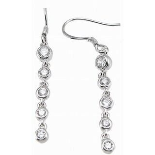 Sterling Silver Cubic Zirconia Tiffany-style Bezel Earrings