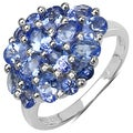 Malaika Sterling Silver 2 1/5ct TGW Tanzanite Cluster Ring