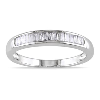 Miadora 14k White Gold 1/3ct TDW Certified Diamond Wedding Band (G-H, I1-I2)
