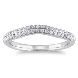 Miadora 14k White Gold 1/3ct TDW Diamond Curved Wedding Band (G-H, I1-I2)