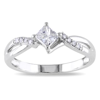 Miadora 14k White Gold 3/8ct TDW Diamond Engagement Ring (G-H, I1-I2)