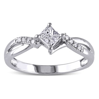 Miadora 14k White Gold 3/8ct TDW Diamond Engagement Ring