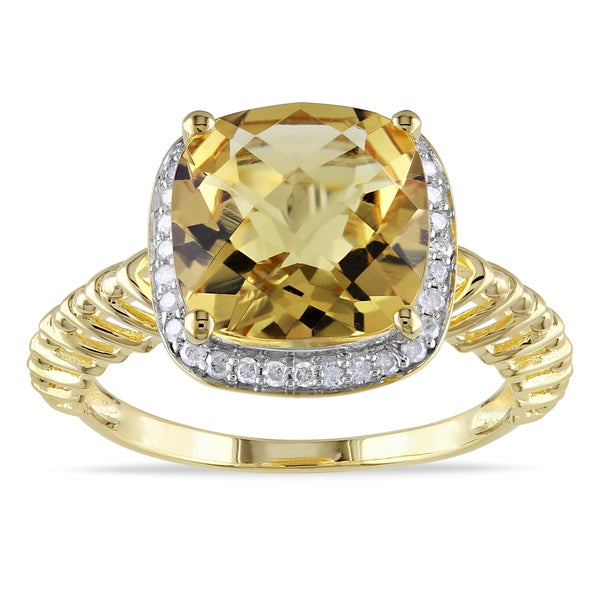 Miadora Goldplated Silver Citrine and 1/ 6ct TDW Diamond Ring (H-I, I3)