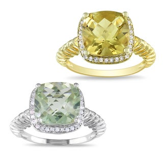 Miadora Goldplated Silver Gemstone and 1/6ct TDW Diamond Ring (H-I, I3)
