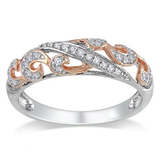 Miadora Sterling Silver 1/6ct TDW Pave Diamond Ring (H-I, I2-I3)