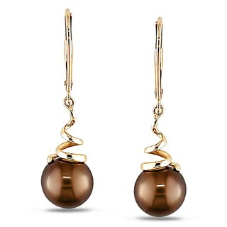Miadora 14k Yellow Gold Chocolate Cultured Freshwater Pearl Dangle Earrings