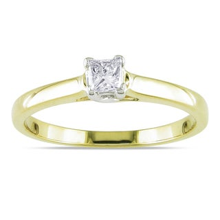 Miadora 14k Yellow Gold 1/4ct TDW Princess Cut Diamond Solitaire Ring (G-H, I1-I2)