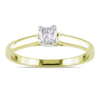 Miadora 14k Yellow Gold 1/4ct TDW Princess Cut Diamond Solitaire Ring (G-H, I1-I2) with Bonus Earrings