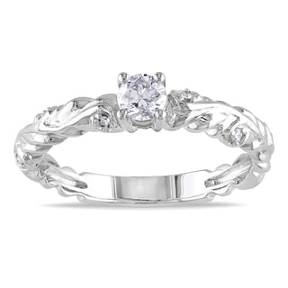 Miadora 14k White Gold 1/3ct TDW Textured Band Diamond Ring (G-H, I1-I2)