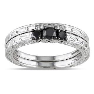 Miadora 10k White Gold 1/3ct TDW Black Diamond Bridal Ring Set