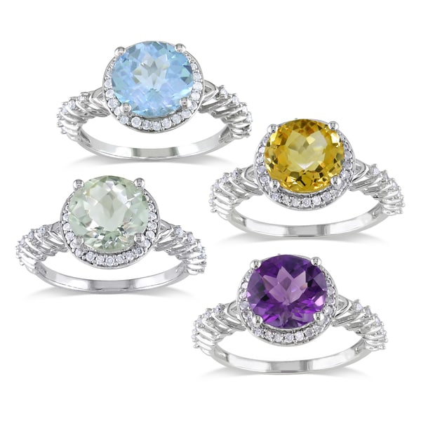 Miadora Sterling Silver Gemstone and 1/5ct TDW Diamond Ring (H-I, I2-I3)